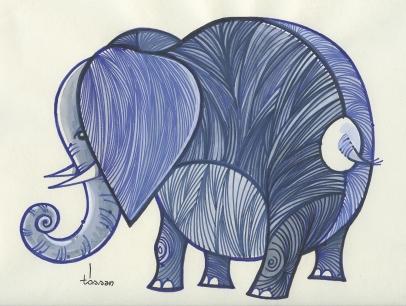 elefante 34x45 marc+guache
